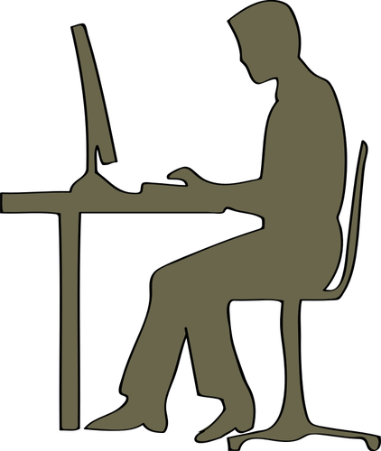 Man Sitting At Computer Desk Vector Clip Art   Public Domain Vectors