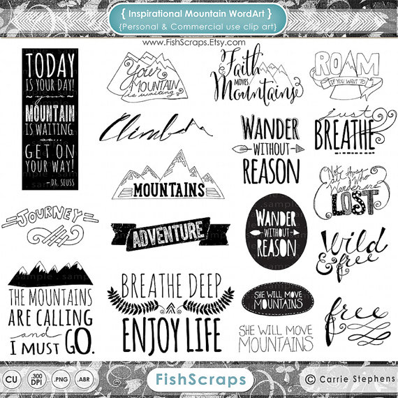 Mountain Word Art   Inspirational Quote Clip Art Scrapbooking Titles