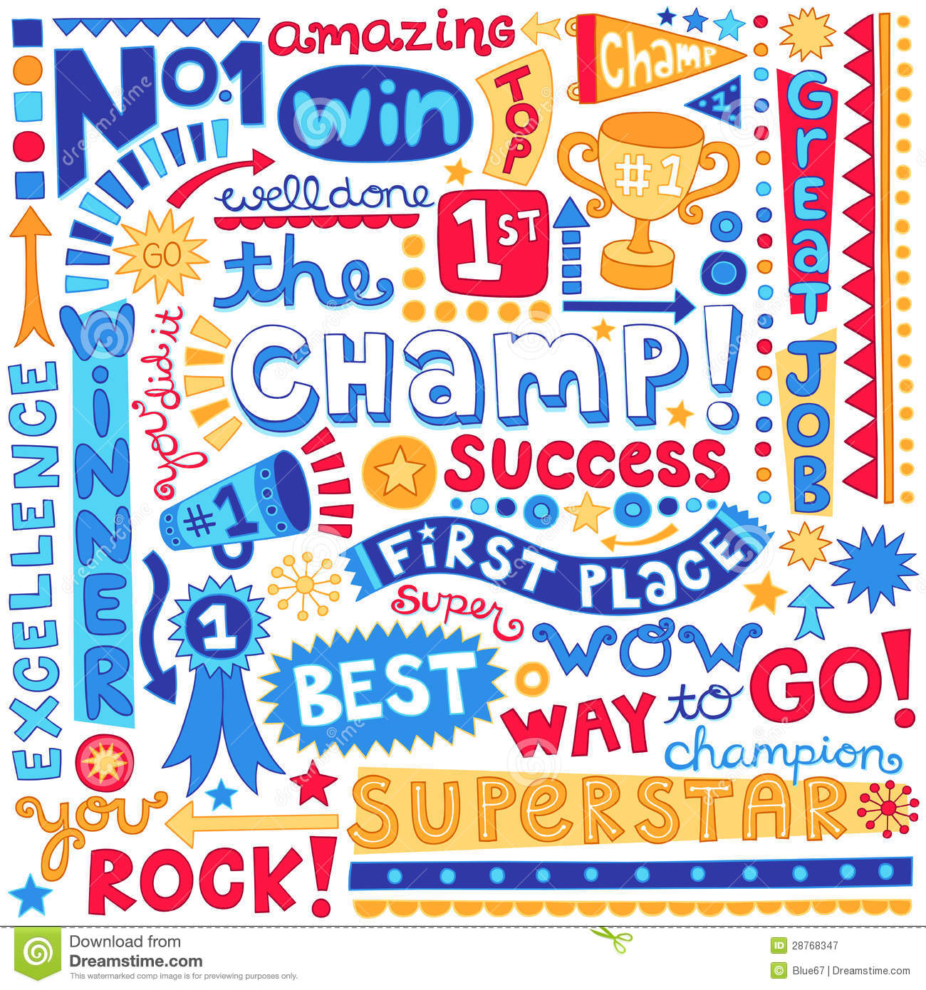 Sports Champion Word Doodles Vector Illustration Royalty Free Stock