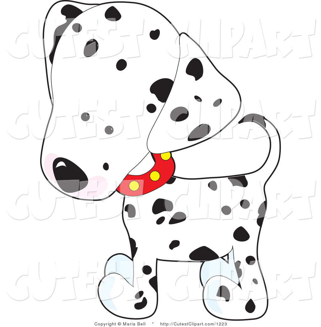 Vector Clip Art Of A Cute White And Black Spotted Dalmation Puppy Dog