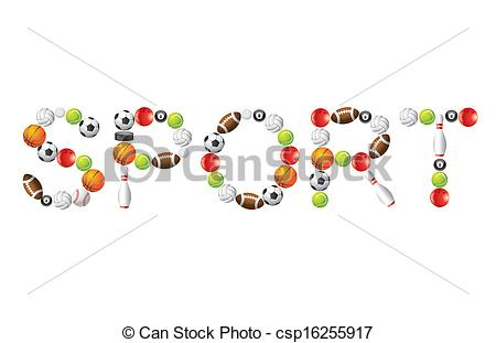 Vector Clip Art Of Sport Word From Balls Vector   Sport Word From