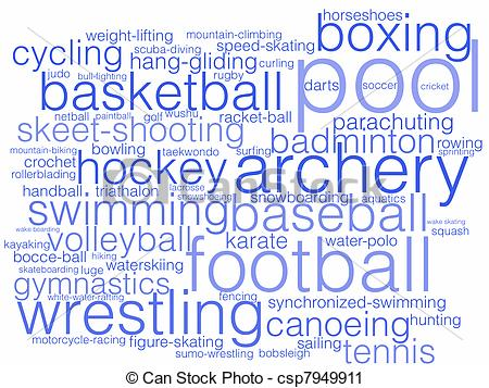 Word Sports In Bubble Letters Sports Clip Art Playing Sports Clip Art