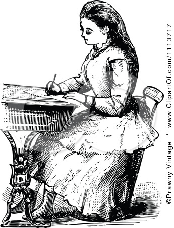 1113717 Clipart Vintage Black And White Victorian School Girl Writing