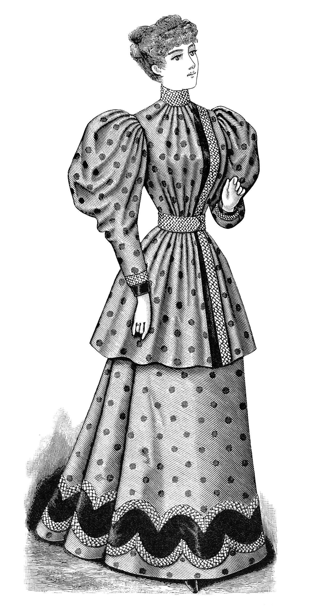 Clip Art Old Fashioned Polka Dot Dress Illustration Black And White