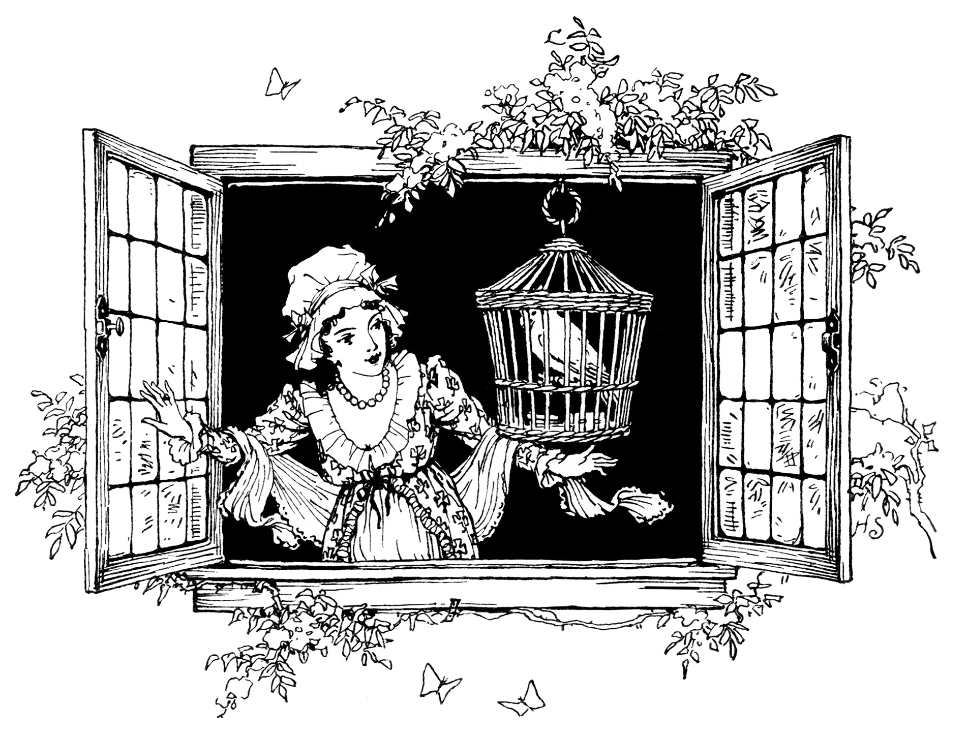 Clipart Victorian Lady Girl And Bird In Window Black And White Clip