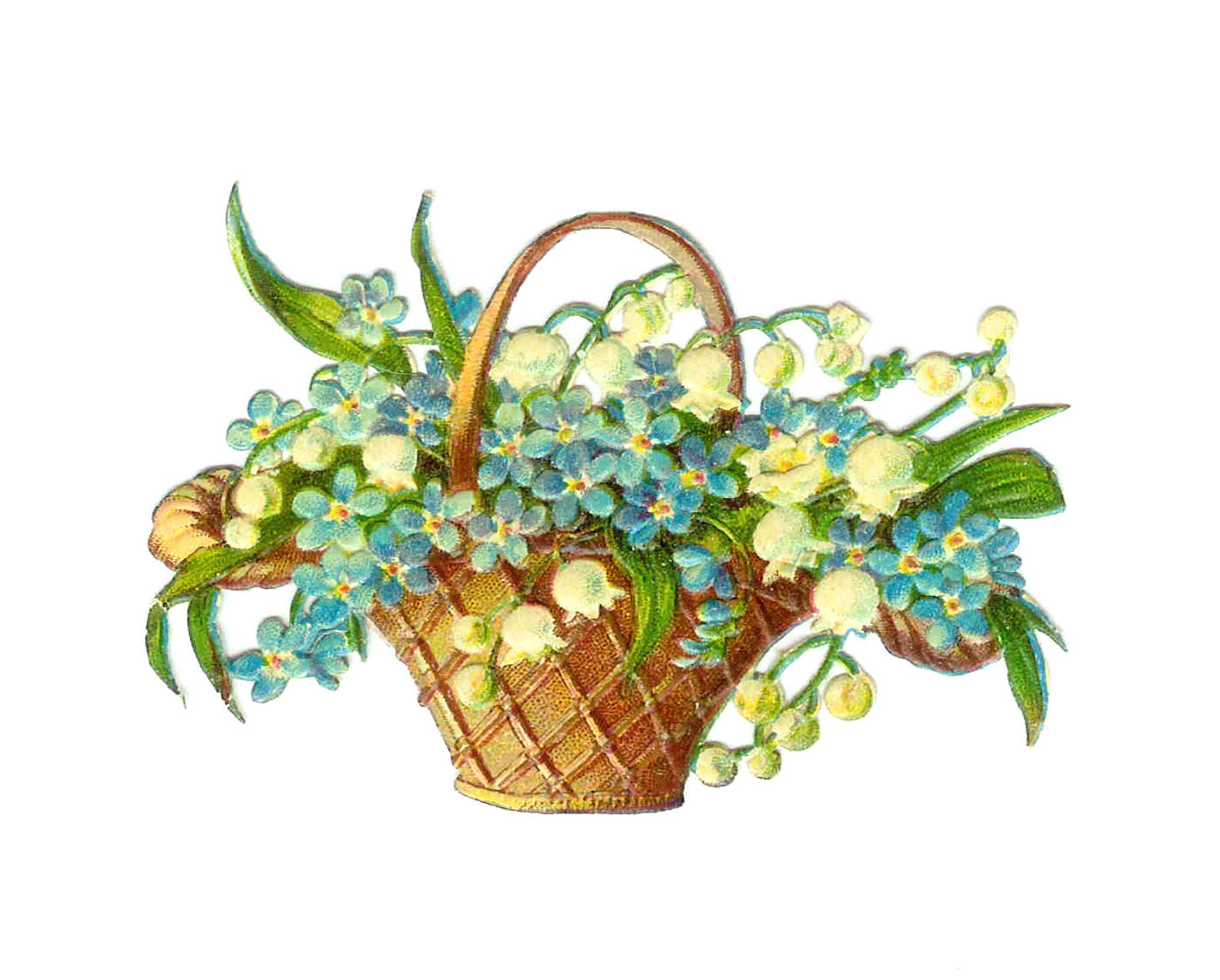 Easter Clip Art  Vintage Victorian Die Cut Of Basket Full Of Flowers