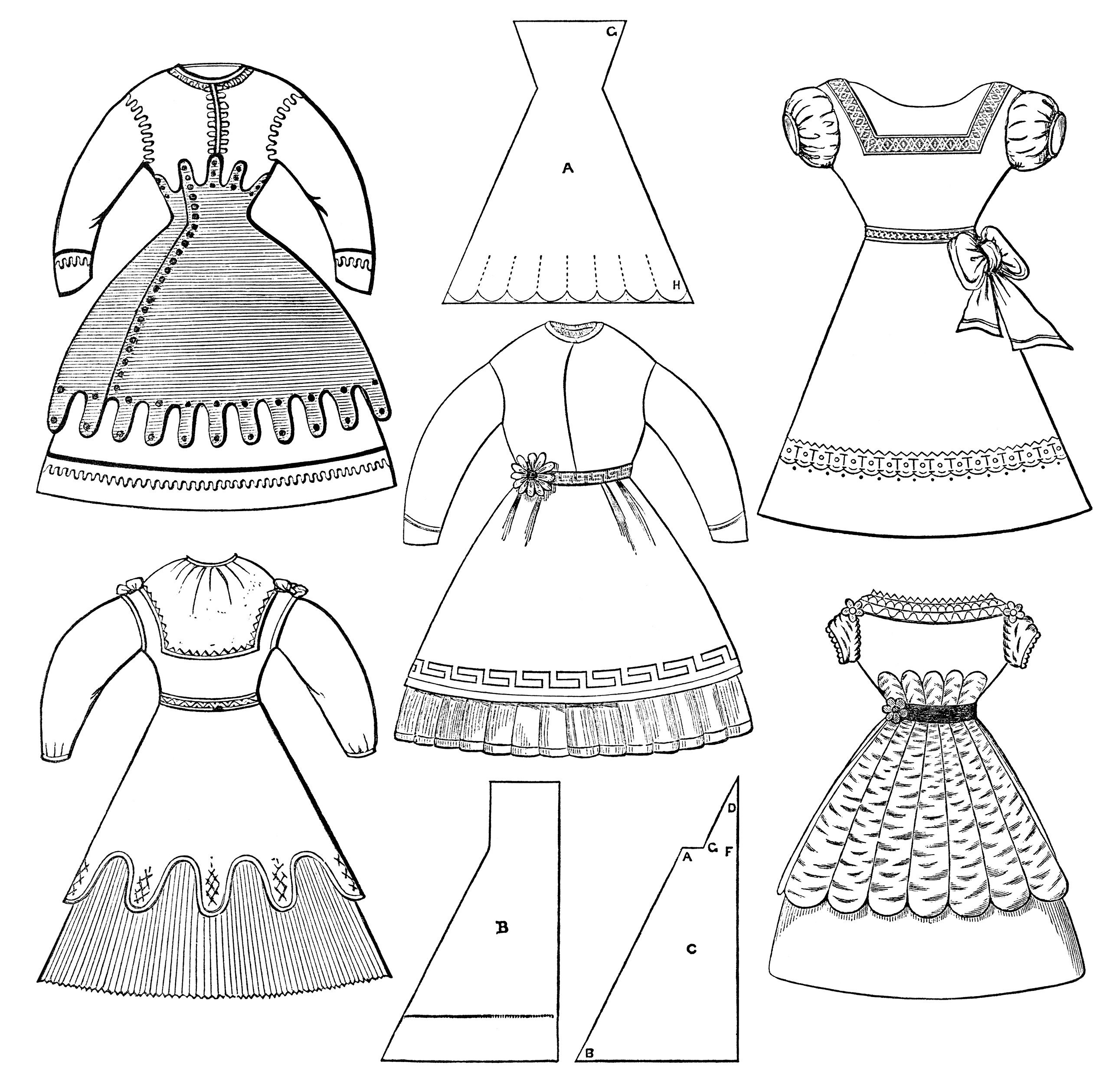 Fashioned Clothes Vintage Clothing Clipart Black And White Clip Art