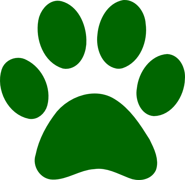 Green Paw Print Clipart