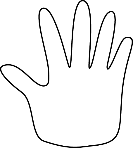 Hand Outline Clip Art Image   Black And White Outline Of A Hand  This