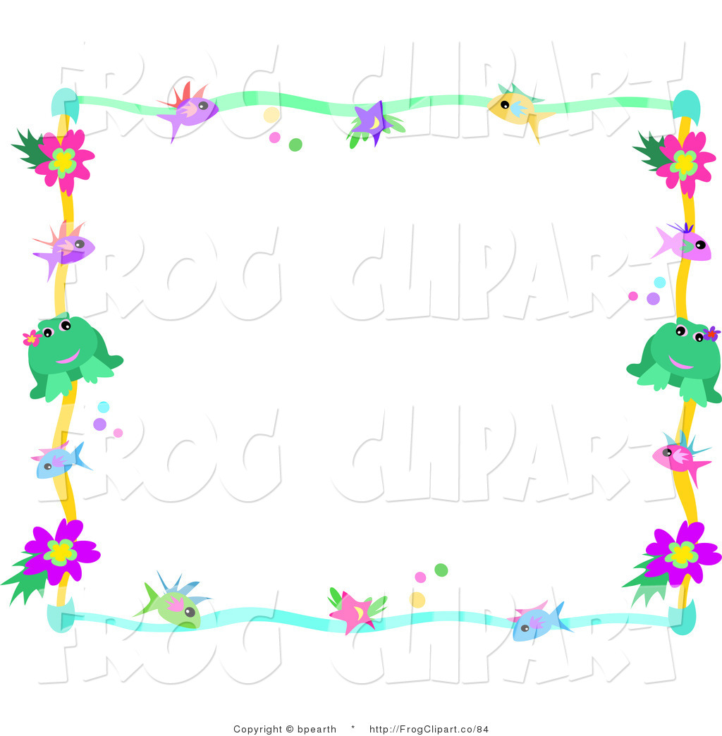 Larger Preview  Clip Art Of A Colorful Frame Border Of Fish Stars