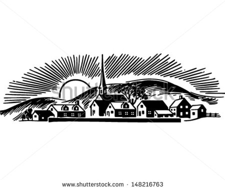 Small Town   Retro Clip Art Illustration   Stock Vector