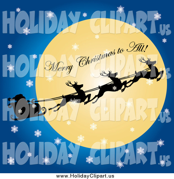 The Moon With Merry Christmas To All Text By Pams Clipart  17142