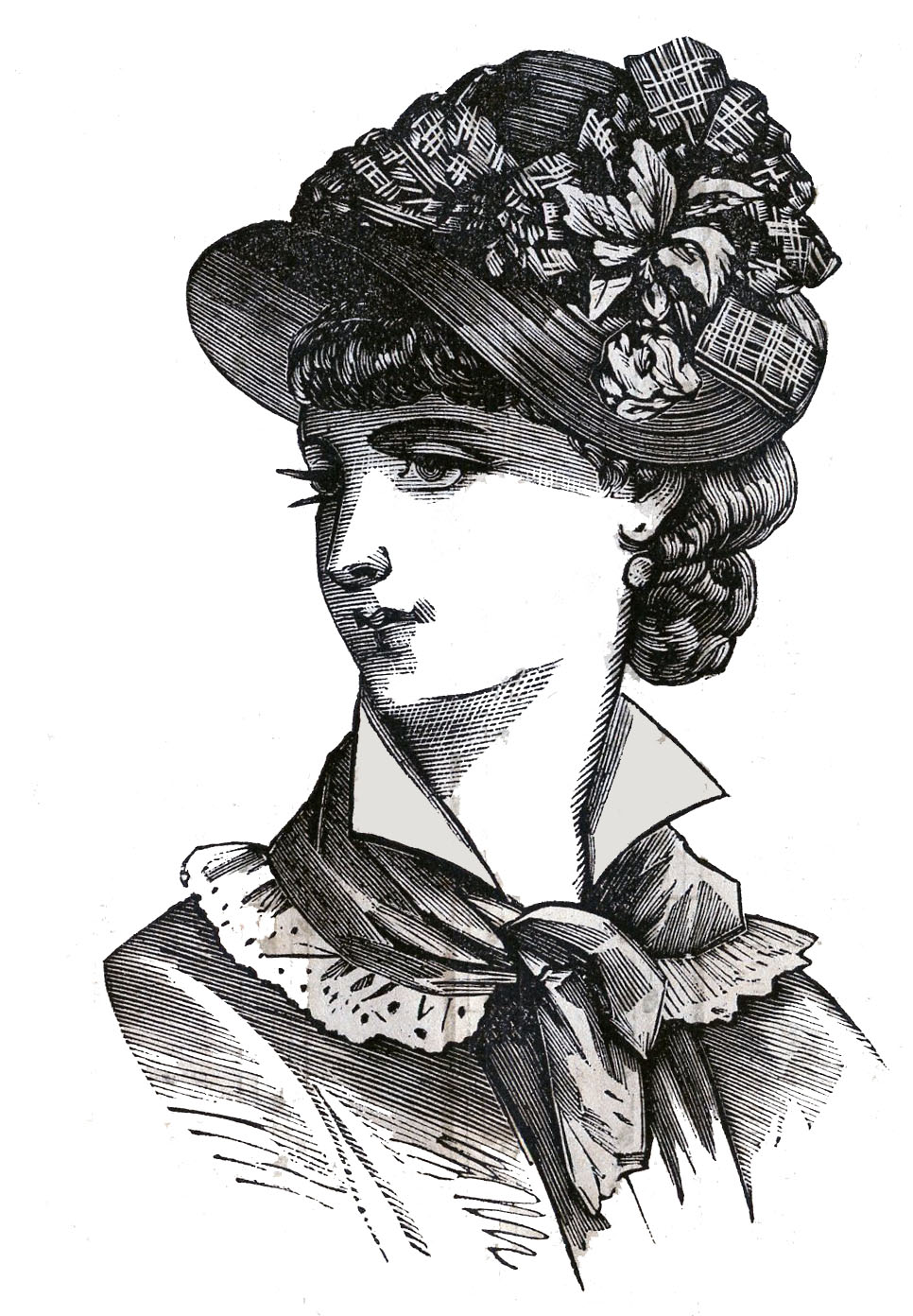 Victorian Clip Art   3 Hat Wearing Heads   Ladies   The Graphics Fairy