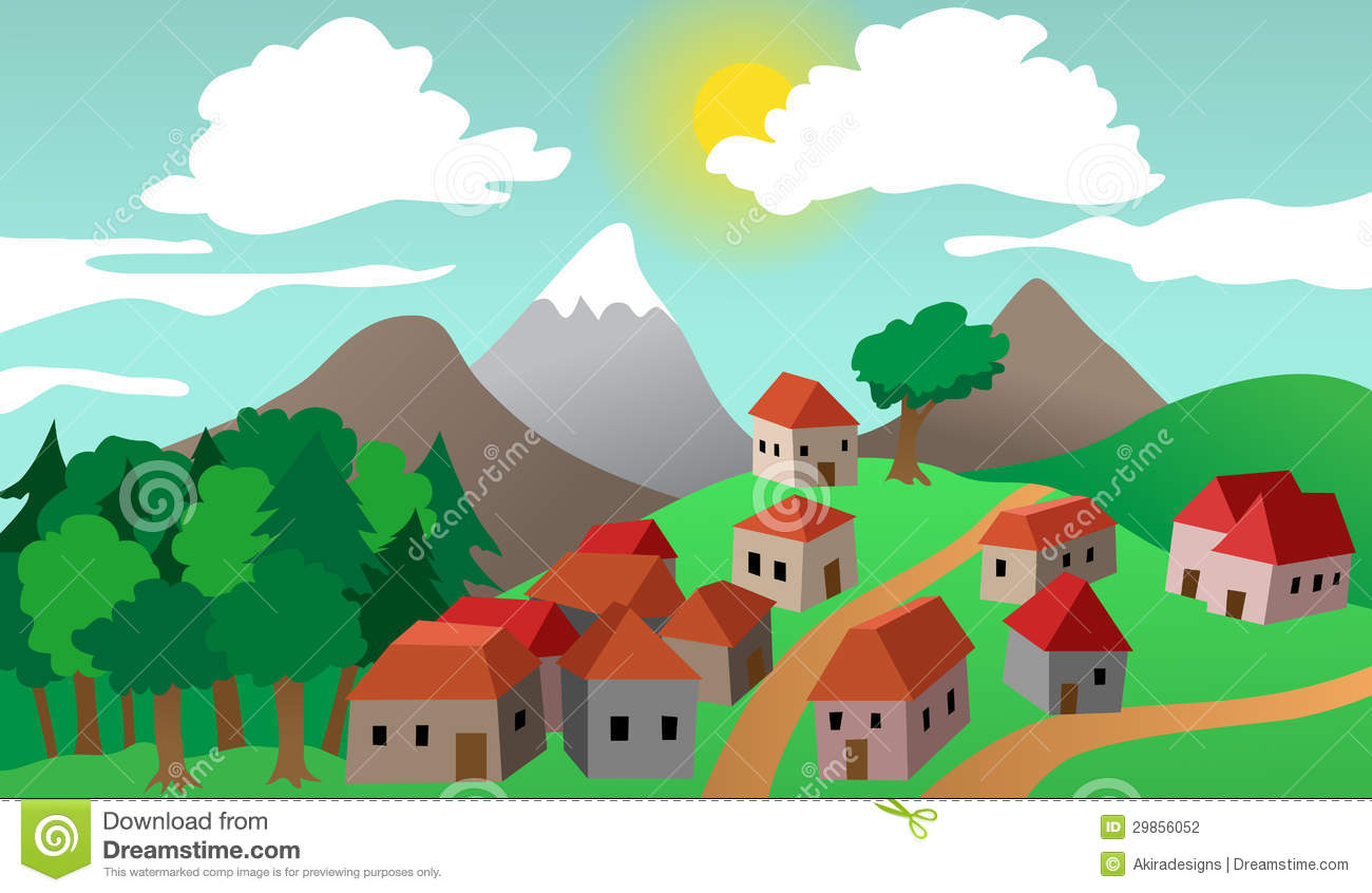 Village Or Town Suburb Landscape Stock Photography   Image  29856052