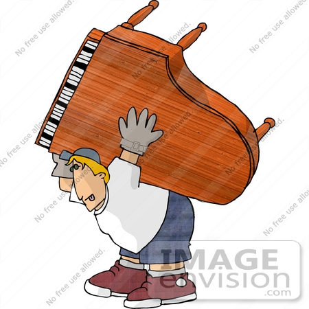 14747 Piano Moving Man Carrying A Grand Piano Clipart By Djart