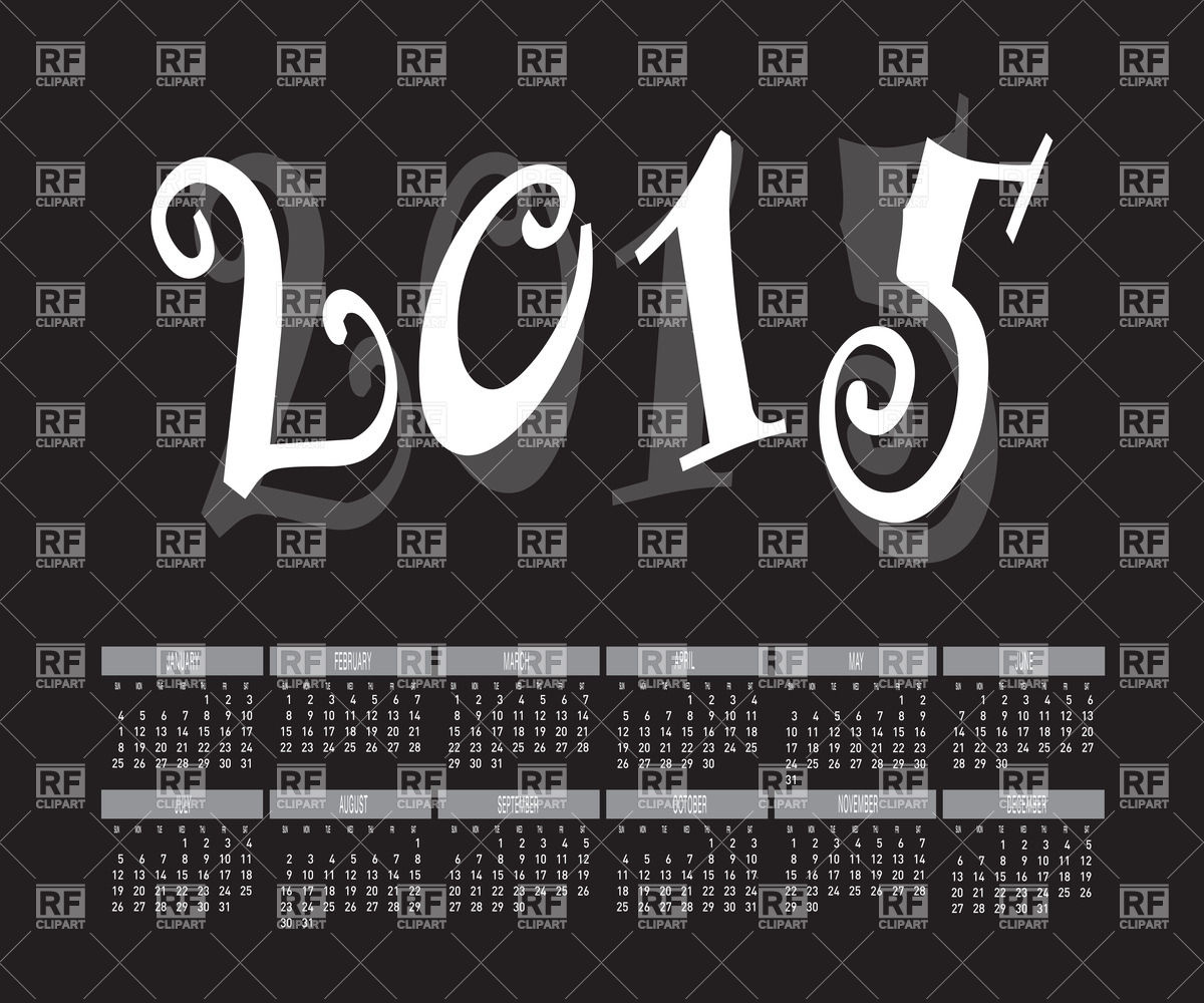 2015 Year Calendar   Black And White 37790 Download Royalty Free