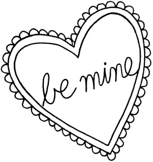 Be Mine Valentines Day Clip Art Black And White