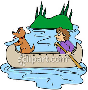 Boy And His Dog In A Canoe   Royalty Free Clipart Picture