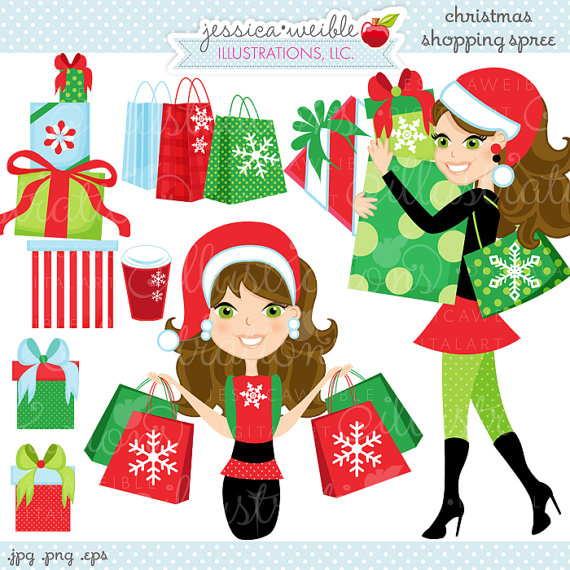Christmas Shopping Spree Brunette Cute Digital Clipart Commercial Use