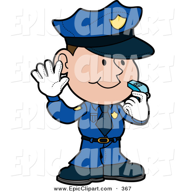 Clip Art Of A Friendly Male Caucasian Police Officer In A Blue Uniform