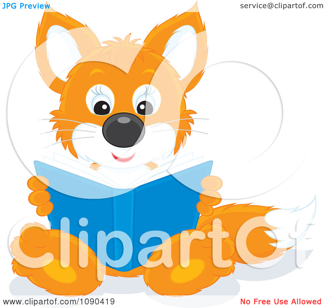 Clipart Cute Fox Sitting And Reading A Book   Royalty Free Vector