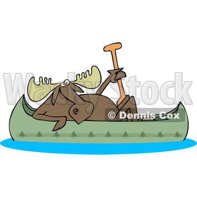 Clipart Of A Moose In A Canoe   Royalty Free Vector Illustration
