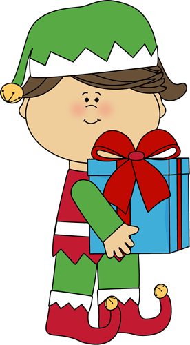 Cute Christmas Elves Clipart Girl Christmas Elf With Gift