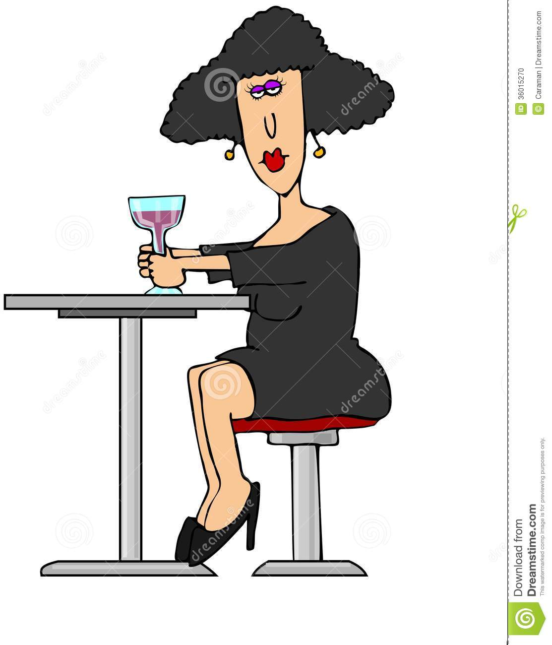 Depicts A Woman Sitting At A Table Having A Glass Of Wine
