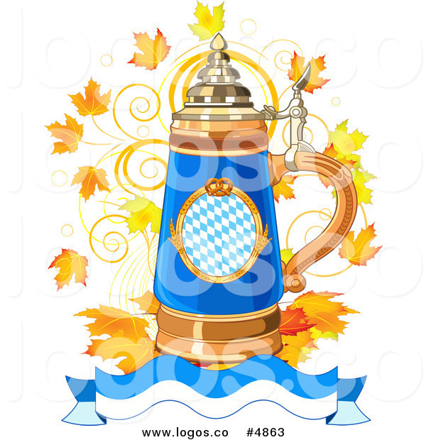 Free Vector Of An Oktoberfest Beer Stein Banner And Autumn Leaves Logo