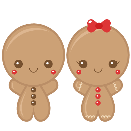Gingerbread Boy   Girl Scrapbook Clip Art Christmas Cut Outs For