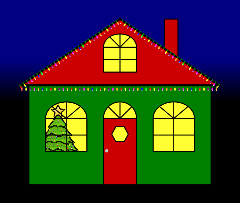House With Christmas Lights By Jaynick House With Animated ...