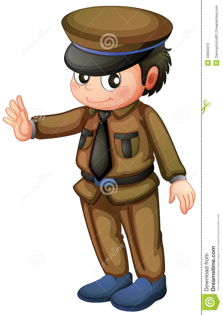 Illustration Of A Policeman In A Brown Uniform On A White Background