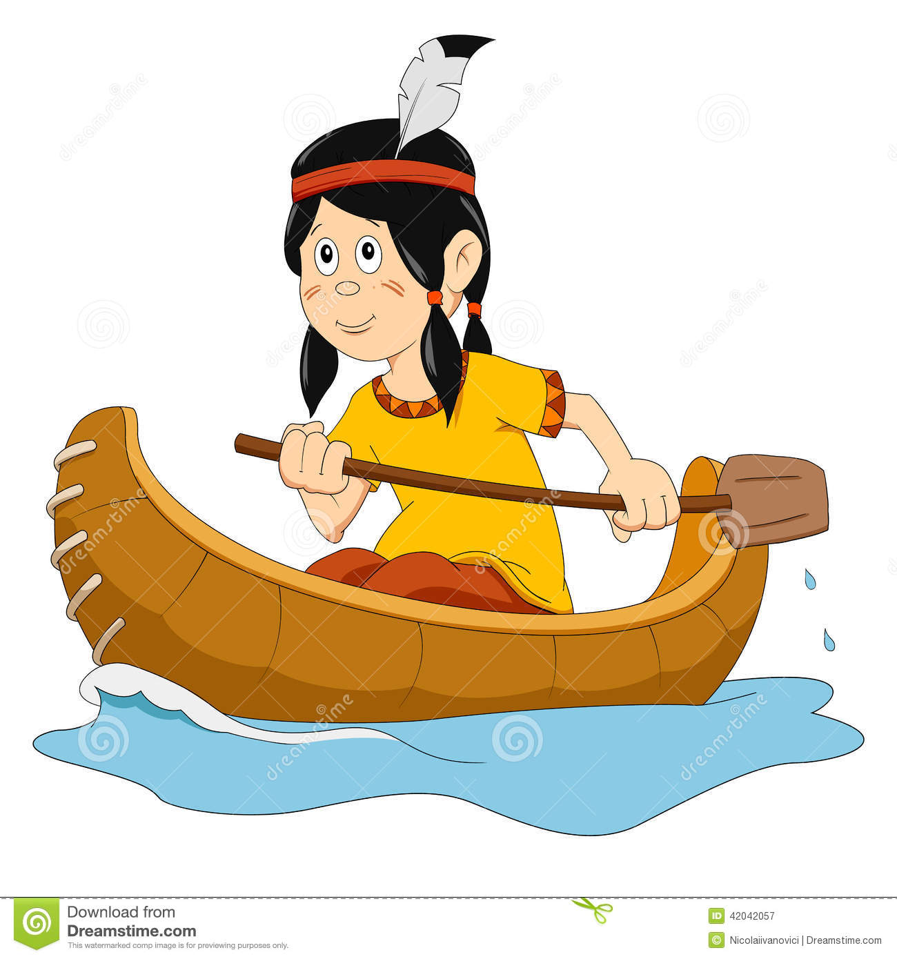 Indian In The Boat Stock Vector   Image  42042057