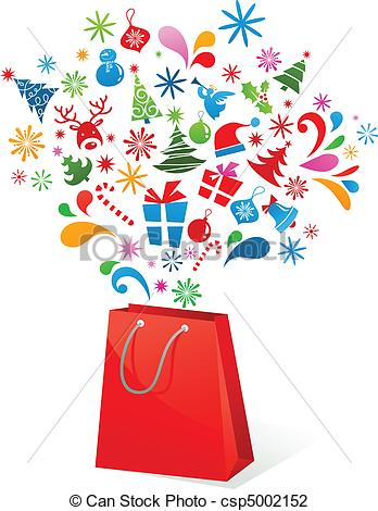 Christmas Shopping Clipart - Synkee