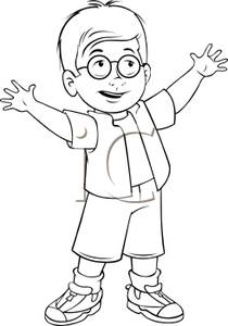 Little Boy Clip Art Black And White