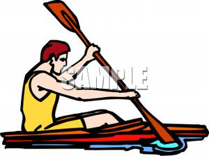 Man Paddling A Canoe   Royalty Free Clipart Picture