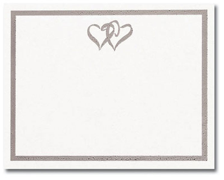 Note Cards Silver Double Heart Postcards
