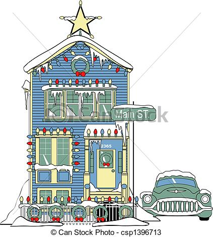 Of House With Christmas Lights Clip Art Csp1396713   Search Clip