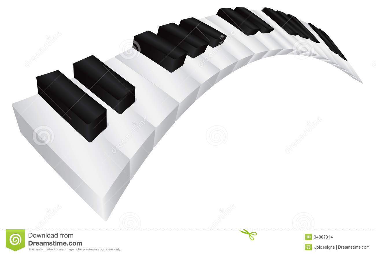 Piano Keyboard With Black And White Wavy Keys In 3d Isolated On White