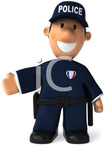 Police Officer In Uniform Gesturing   Royalty Free Clipart Picture