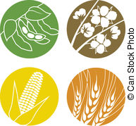 Soybeans Cotton Corn And Wheat   An Icon Set Representing