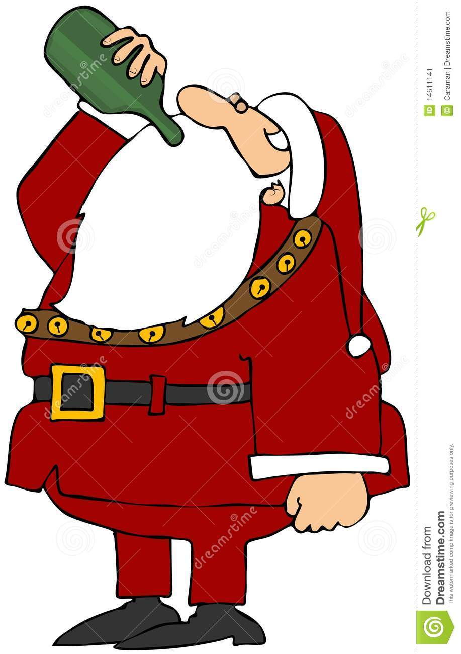 This Illustration Depicts Santa Drinking A Bottle Of Wine