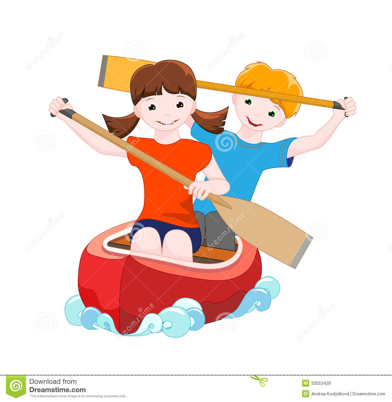 Two Children On Red Canoe Royalty Free Stock Photos   Image  33053428