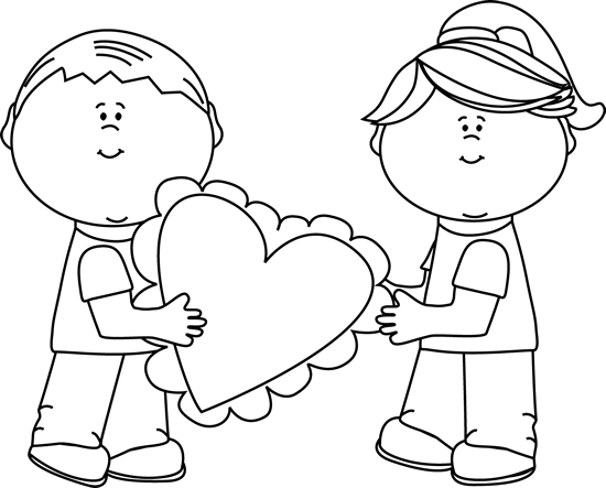 Valentines Day Clip Art Black And White For Kids