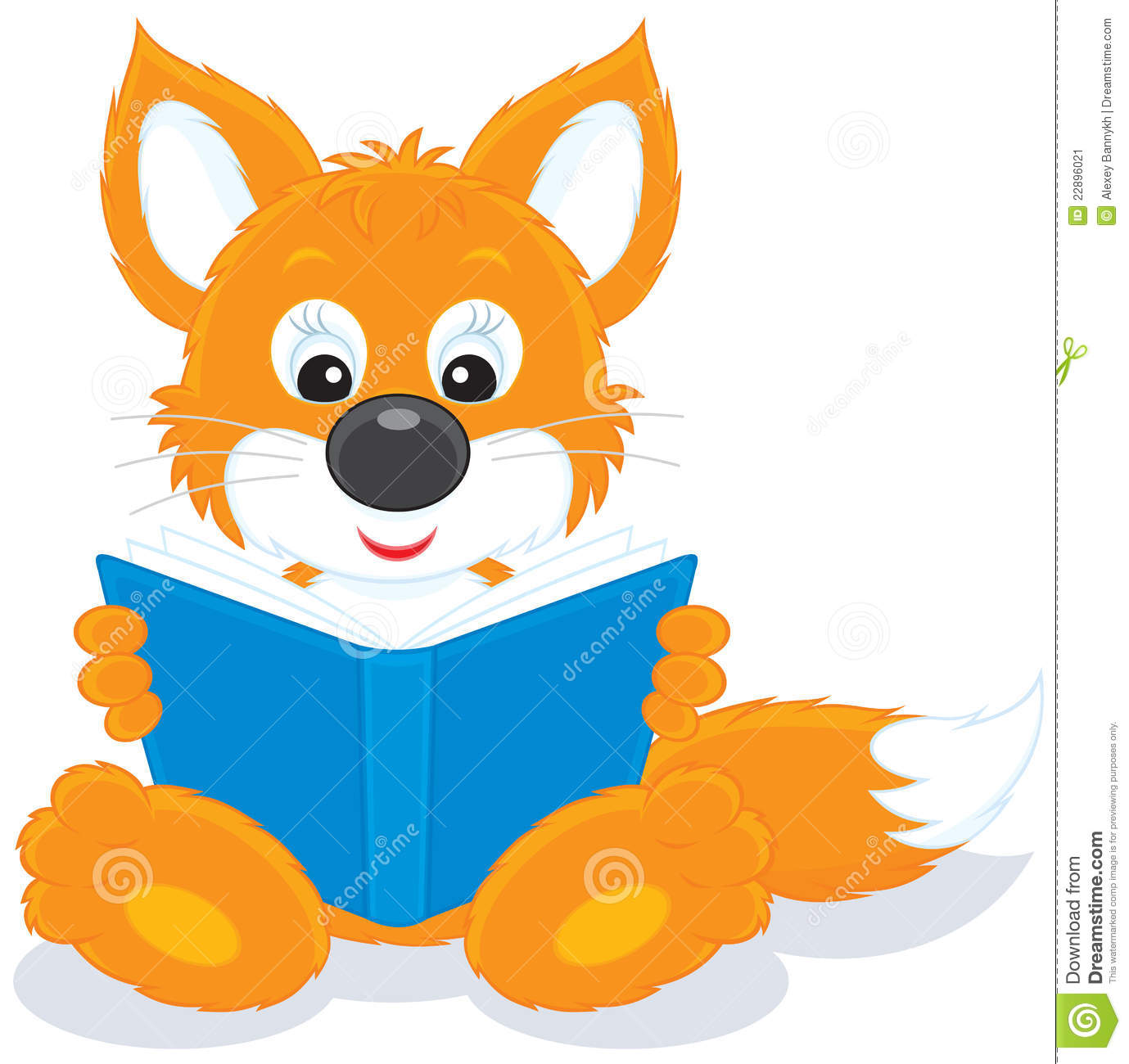 Vector Clip Art Illustration Of A Red Fox Cub Reading A Blue Book