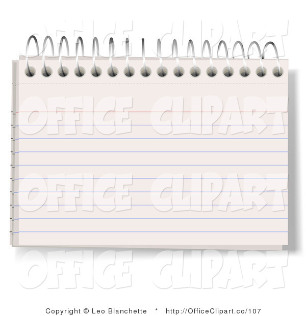 Vector Clip Art Of A Blank Lined Index Note Card In A Spiraled Book By