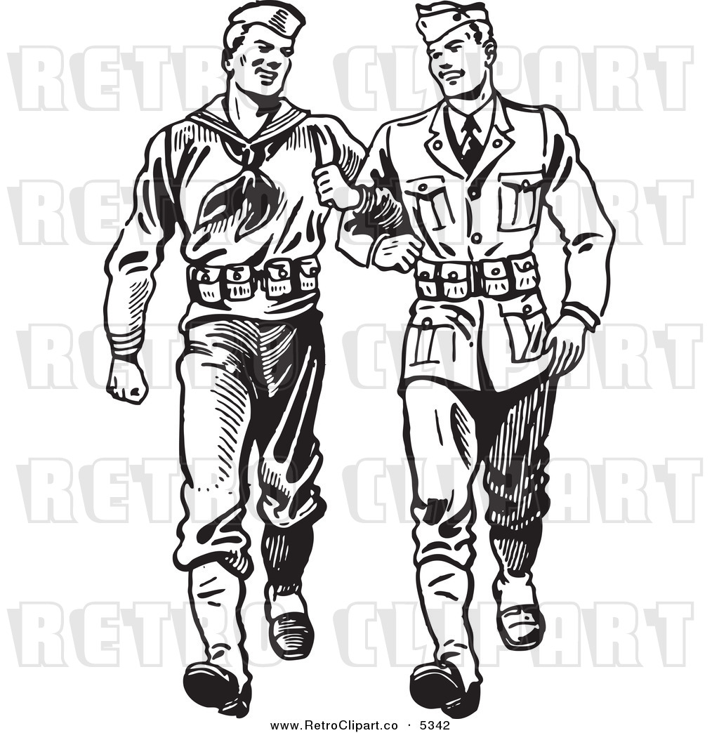 Vector Clipart Of Black And White Retro Soldiers Walking Arm In Arm By