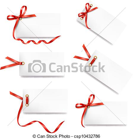 Vector   Set Of Card Note With Red Gift Bows   Stock Illustration