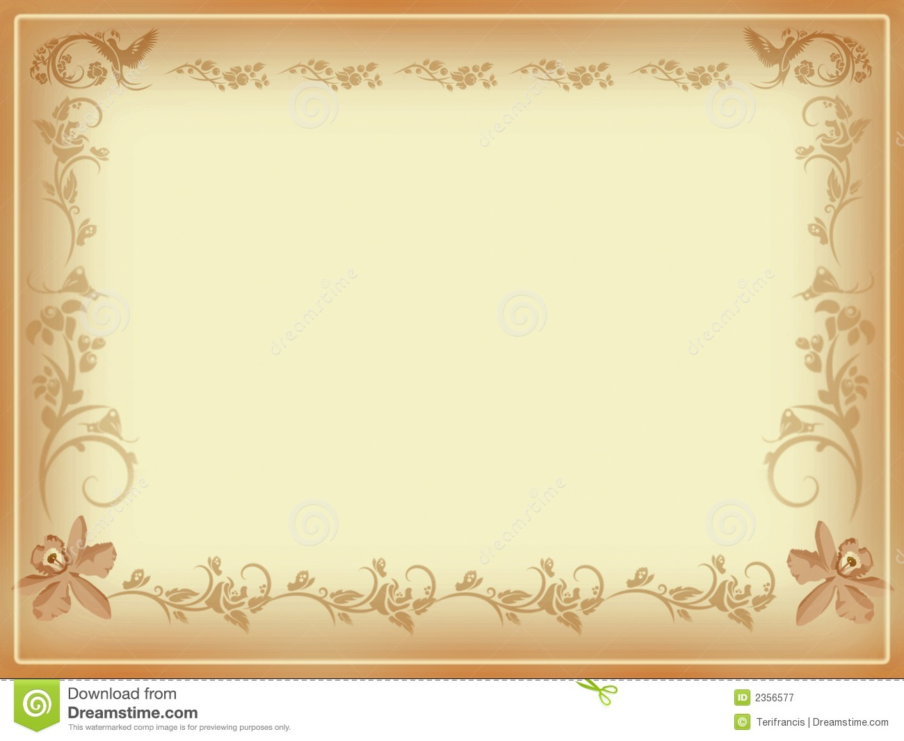 Vintage Floral Frame In Antique Style Note Card  Ideal For Background