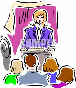 Woman At A Podium During A Press Conference   Royalty Free Clipart